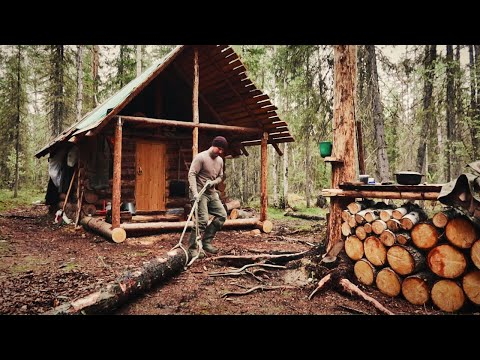 Off Grid Cabin. Build an Addition on My Log Cabin. Cutting Lumber with a Chainsaw