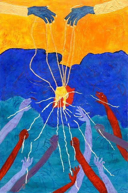 Les Fils d'or-Huile et couleurs iridescentes sur toile 120/80