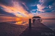 Orange Sky Pier Sunrise Lightened Chabil Mar Resort Belize