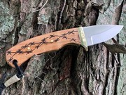 Small drop point skinner knife with Maple wood handles