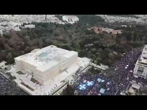 Aerial shot shows massive demonstration against COVID vaccination in Greece