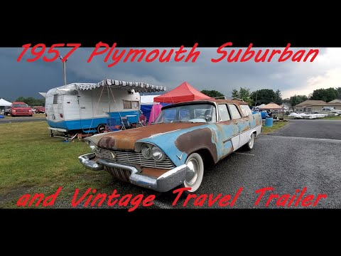 1957 Plymouth Suburban and Vintage Travel Trailer at the 2021 Chrysler Nationals,Carlisle