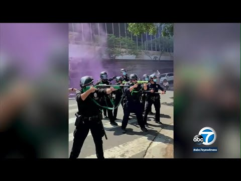 Video shows LAPD officer shoot protester with rubber bullet at close range I ABC7
