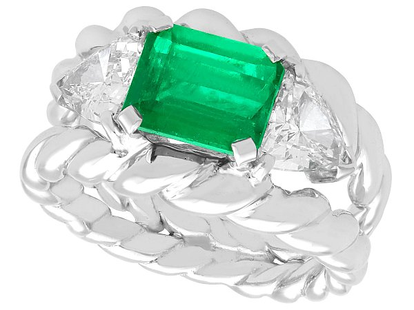 1.64 ct Colombian Emerald and 1.23 ct Diamond, 18 ct White Gold Dress Ring - Vintage Circa 1980