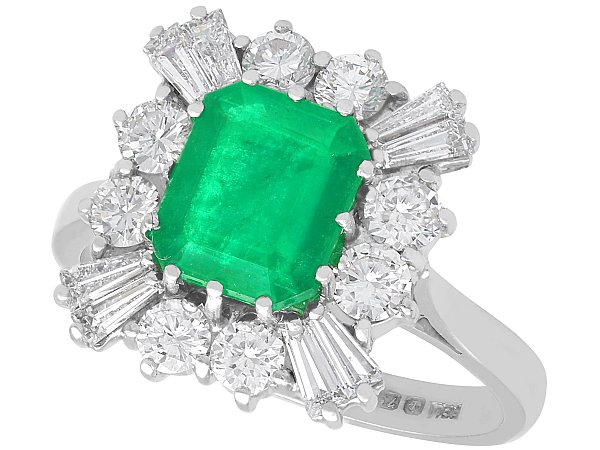 2.05ct Emerald and 1.23ct Diamond, 18ct White Gold Cluster Ring - Vintage 1986