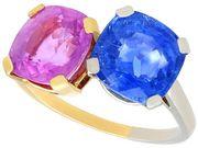 10.50 ct Sapphire, 18 ct Yellow Gold and Platinum Dress Ring - Vintage Circa 1940