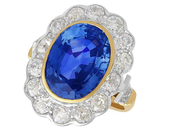 9.50 ct Sapphire and 2.50ct Diamond, 18ct Yellow Gold and White Gold Cluster Ring - Vintage French Circa 1940