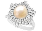 Natural Saltwater Pearl and 0.95ct Diamond, 18ct White Gold Dress Ring - Antique Circa 1930