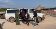 Illegal Aliens get into waiting Border Patrol Vehicle!
