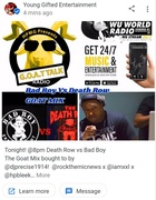 Tonight! @8pm Death Row vs Bad Boy  The Goat Mix bought to by @djprecise1914!  @rockthemicnews x @iamxxl x @hpbleek returning with new debates soon @goatalkradiolive on @Wuworld! #goattalkradiolive e