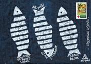 linogravure originale - trio de sardines - 15x21 -  juillet 2021