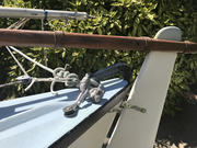 port stern, spinnaker pulley on dyneema soft shackle & rear 'traveler'