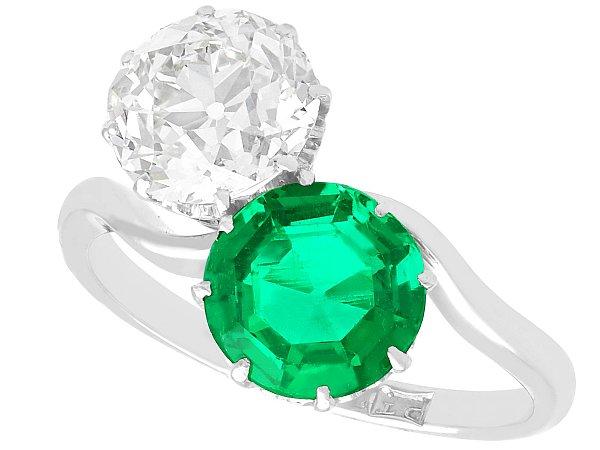 1.70 ct Colombian Emerald and 2.18 ct Diamond, Platinum Twist Ring - Antique Circa 1920