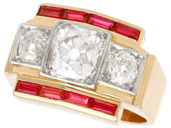 2.28ct Diamond and 0.52ct Ruby, 18 ct Yellow Gold Dress Ring - Vintage French Circa 1940