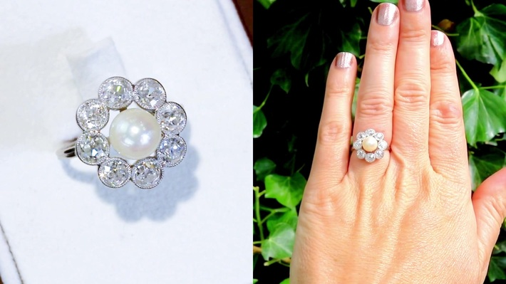 Natural Saltwater Pearl and 2.02ct Diamond, Platinum Dress Ring - Antique French Circa 1915