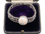 24.66ct Opal and 9.81ct Diamond, Platinum Bracelet - Antique Circa 1915