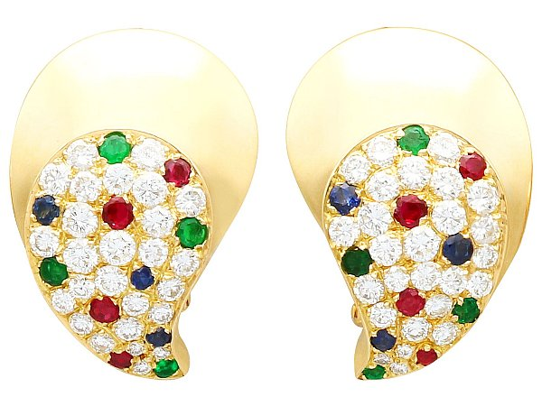 1.97 ct Diamond, 0.30 ct Ruby, 0.25 ct Emerald and 0.19 ct Sapphire, 18ct Yellow Gold Earrings - Vintage French Circa 1980