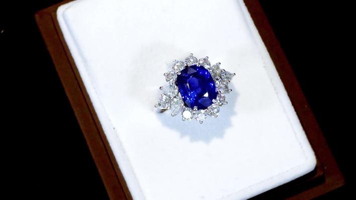 6.83ct Sapphire and 2.84ct Diamond, Platinum Dress Ring - Vintage Circa 1970