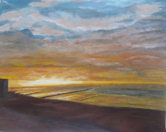 Peinture à l' huile Coucher  de soleil 80 x 100