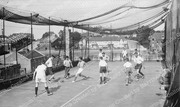 Playing football on the roof of Crouch End YMCA, 1936