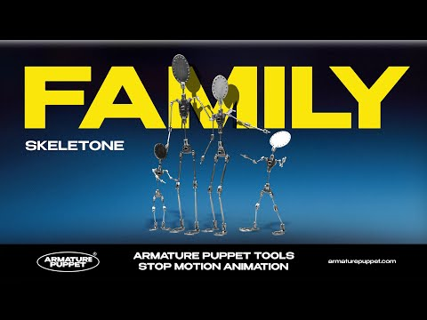 Stop Motion Armature Puppet -  A family of skeletons