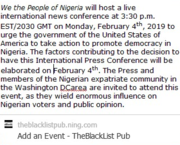 """We the People of Nigeria"" Host International Press Conference, ""Spotlight on the Feb. 2019 Nigerian Elections"": WASHINGTON, D.C"