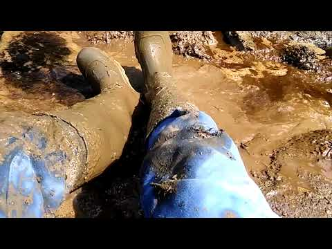Rubberboots wallowing in horseshit