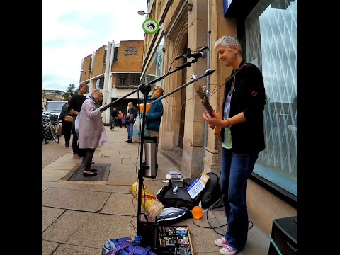Playing On The Street - Live looping, w homemade 3 String Cigar Box Guitar & PVC pipe mini sax thing