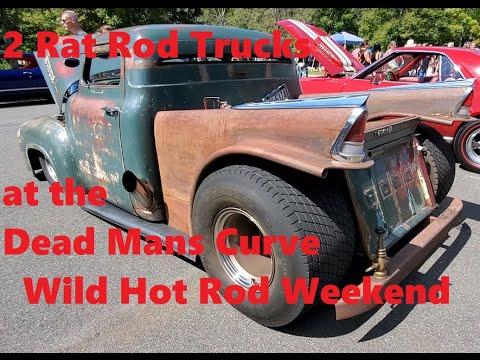 2 Rat Rod Trucks at the 2021 Dead Mans Curve Wild Hot Rod Weekend