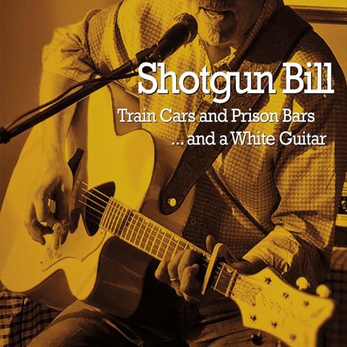 Train cars, prison Bars and a white guitar