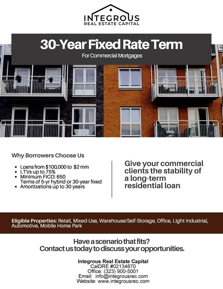 30-Year Fixed Rate Term Commercial Mortgages