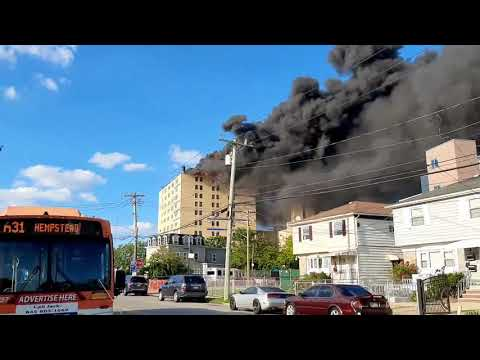 Massive fire at St John's Hospital in Far Rockaway New York City #NYC #Queens