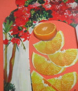Altered card with oranges