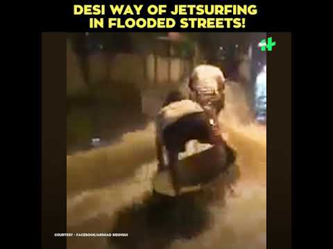 Viral Video: Desi Way Of Jetsurfing In Flooded Streets!