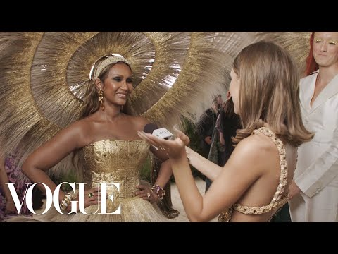 Iman on Her Gold Dress That Took 400 Hours to Make   Met Gala 2021 With Emma Chamberlain   Vogue