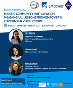 """22nd SLEvAWebinaron """"MakingCommunityParticipationMeaningful: Lessons from EMpower's Covid In Her Voice Report"""""""