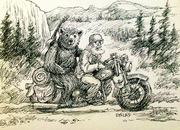 Dave and his Angel bear riding off into the wide blue yonder.  New adventures.