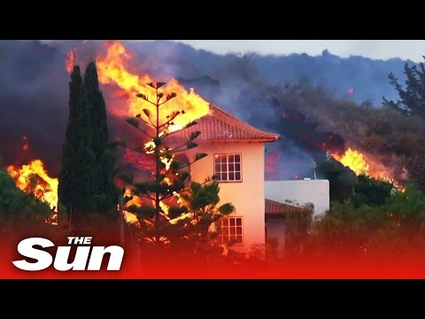 La Palma volcano – Drone view of molten lava destroying homes forcing 5k to flee