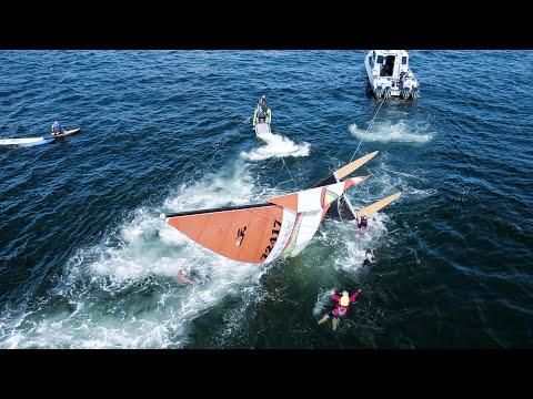 RESCATE ACUATICO; PERSONAS EN BARCOS DE VELA EN EL AGUA Spring Lake, Nueva Jersey 26/9/21