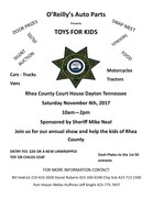 Rhea County Sheriff's Dept Toys for Kids Open Car Show Presented by Oreillys Auto Parts Dayton TN