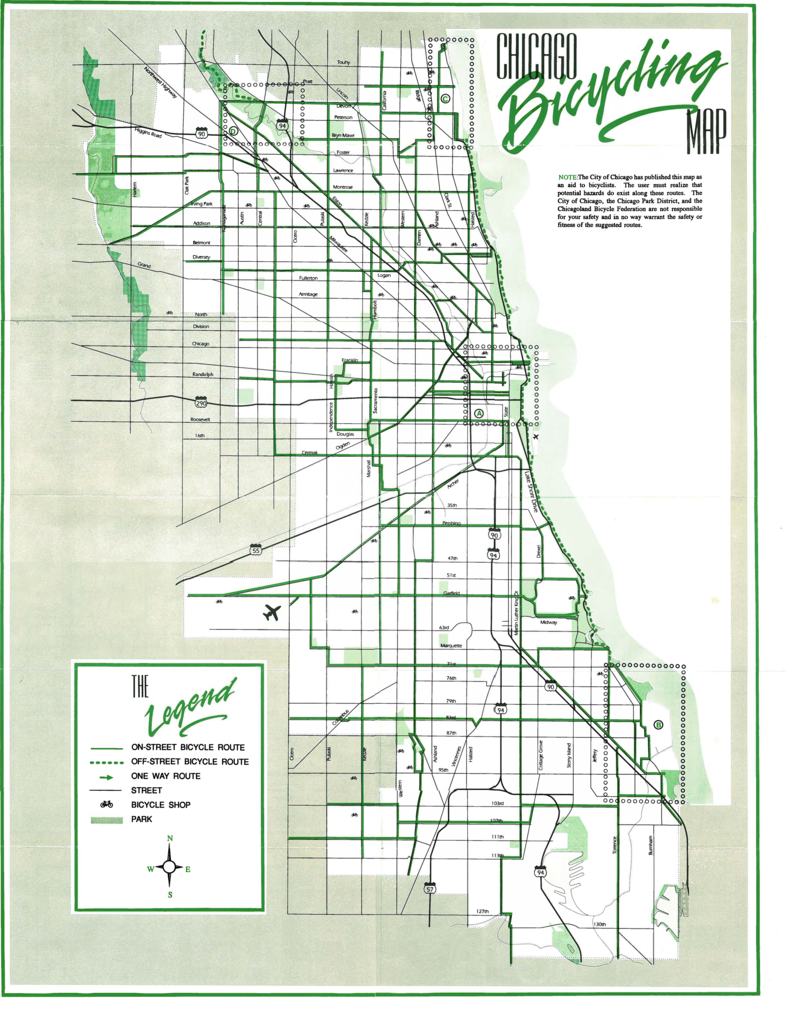 Chicago Bike Map 1991 Chicago Bike Map   The Chainlink