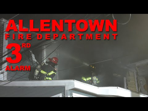 3RD ALARM: Firefighters battle flames in 3 rowhomes in Allentown, Pennsylvania