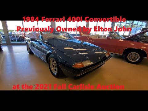 1984 Ferrari 400i Convertible by Straman Ex Elton John 2021 Fall Carlisle Auction