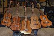 Group shot of baritone ukuleles.